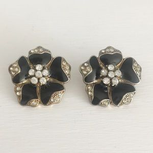 Black and Gold Flower Statement Earrings